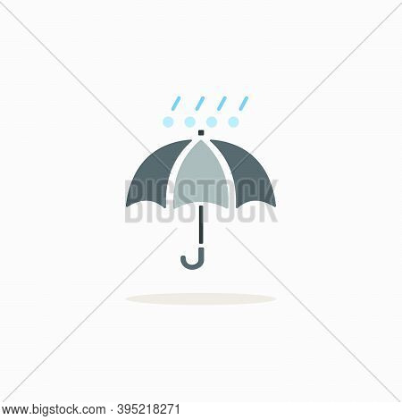 Umbrella With Hail And Rain. Color Icon With Shadow. Weather Glyph Vector Illustration