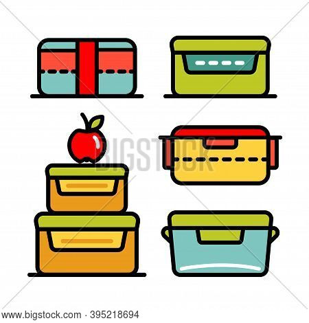 Lunchbox Color Outline Icon Set. Illustration Set Of Lunchbox Icon Vector For Web Design Isolated On