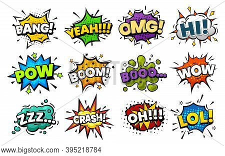 Sound Blasts, Comic Pop Art Speech Bubbles Cartoon