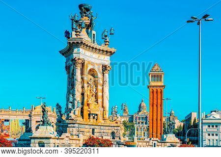 Panorama  Square Of Spain (placa De Espanya),in Barcelona - Capi