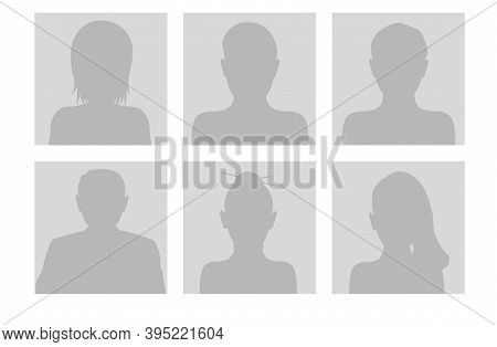 Set Of Avatars Faces With Hair. Flat Gray Icons Of Male And Female For Web And Mobile. Default Place