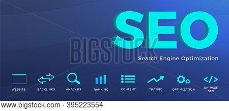 Seo (search Engine Optimization) Horizontal Vector Banner Concept. Backlinks Mass Increase, Analysis