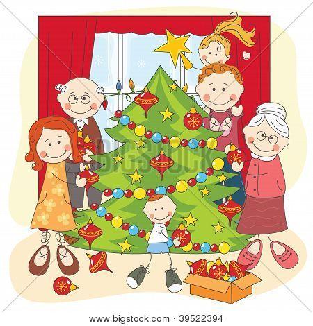 The big happy family dress up a Christmas tree.