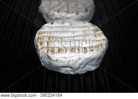 Fresh Grilled Brie Cheese. Grilled Camembert Cheese On A Pan Surface. Grill Pan For Grilling.