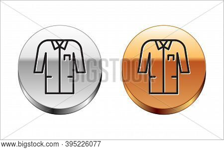 Black Line Laboratory Uniform Icon Isolated On White Background. Gown For Pharmaceutical Research Wo
