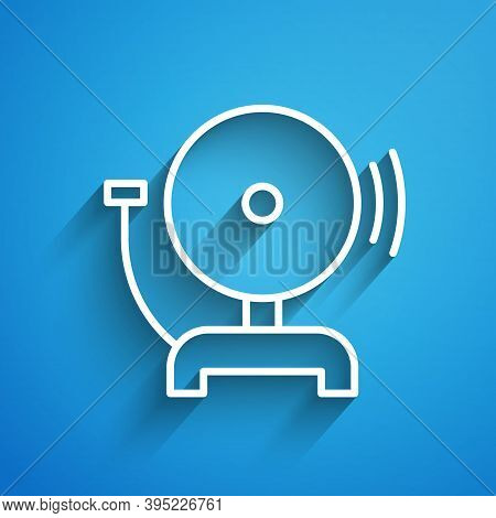 White Line Ringing Alarm Bell Icon Isolated On Blue Background. Fire Alarm System. Service Bell, Han