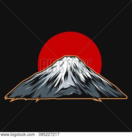 Fujiyama Mountain On Red Sun Background In Vintage Style Isolated Vector Illustration