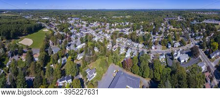 Ashland Town Center Aerial View Panorama Including Federated Church And Town Hall In Ashland, Massac