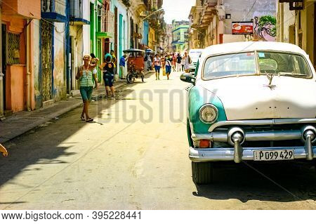 July 15, 2019 - Havana Cuba. Old Retro Car In Havana With Tipical Buidings