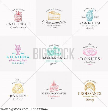 Premium Confectionary Abstract Signs, Symbols Or Logo Templates Collection. Hand Drawn Ice Cream, Do
