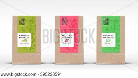 Craft Paper Bag With Exotic Fruits Tea Labels Set. Abstract Vector Packaging Design Layout With Real