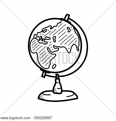 Hand Drawn Globe Doodle. Side With Eurasia, Russia, China, India. Sketch Icon. Vector Illustration I
