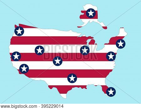 Major Cities Of The United States Of America. City Is Star. National Flag Of United States Of Americ