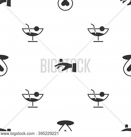 Set Location With Heart, Wedding Rings Hand And Cocktail On Seamless Pattern. Vector
