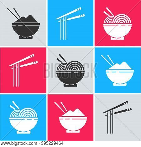 Set Rice In A Bowl With Chopstick, Asian Noodles And Chopsticks And Asian Noodles In Bowl And Chopst