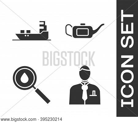 Set Businessman Or Stock Market Trader, Oil Tanker Ship, Oil Drop And Canister For Motor Oil Icon. V