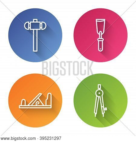 Set Line Sledgehammer, Putty Knife, Wood Plane Tool And Drawing Compass. Color Circle Button. Vector
