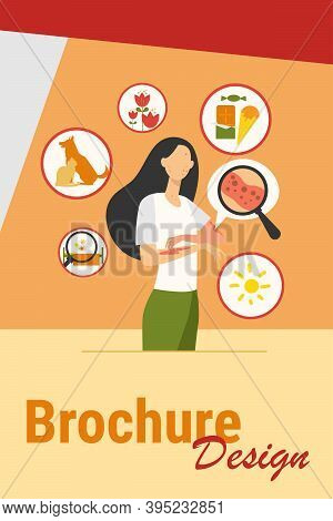 Faceless Sad Woman Suffering From Allergy Isolated Flat Vector Illustration. Cartoon Female Characte