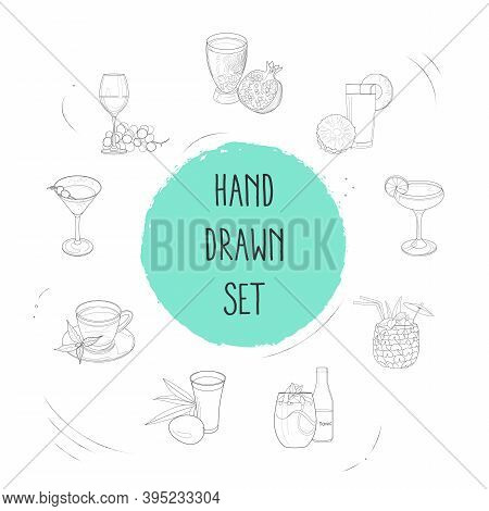 Set Of Drink Icons Line Style Symbols With Daiquiri Cocktail, Pomegranate Juice, Pina Colada And Oth