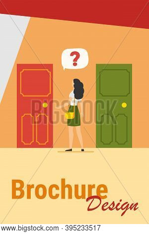 Two Entrance Choice. Woman With Question Mark Choosing Between Two Doors Flat Vector Illustration. S