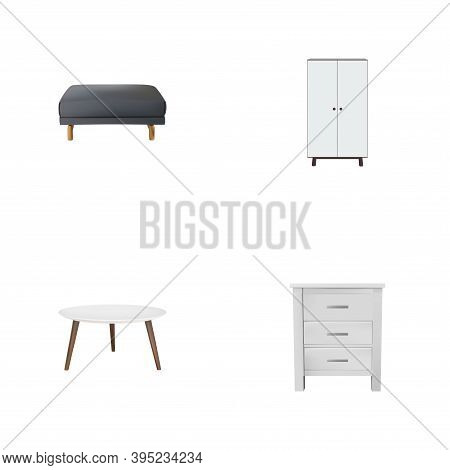 Set Of Design Realistic Symbols With Pouf, Round Table, Closet And Other Icons For Your Web Mobile A