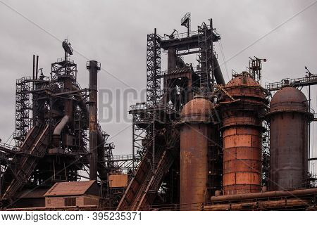 Blast Furnace Equipment Of The Metallurgical Plant, Close Up View