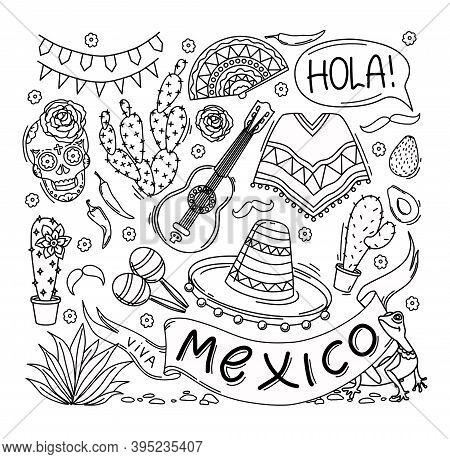 Mexico Set Of Elements. Outline. Coloring. Vector Illustration.