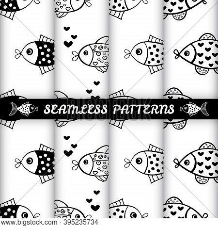 The Set Of The Seamless Patterns With The Hand Drawn Fishes Is On White Background. The Save With Th
