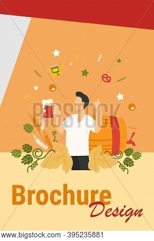 Happy Man Drinking Cold Beer With Snacks Flat Vector Illustration. Young Guy Holding Big Glass With