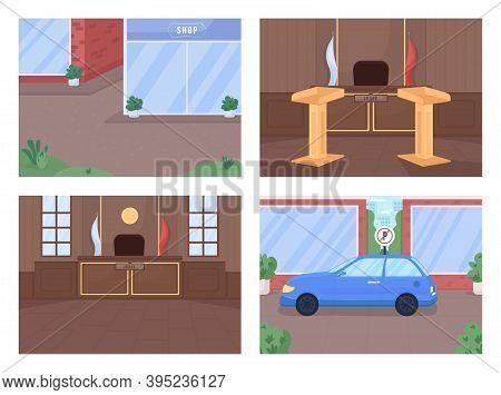 Courthouse And Crime Area Flat Color Vector Illustration Set. Supreme Court Procedure. Legal Investi