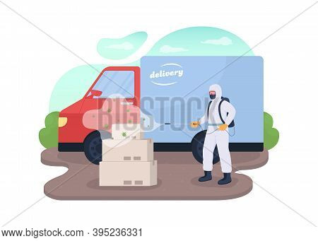 Delivery Products Disinfection 2d Vector Web Banner, Poster. Courier In Protection Uniform Flat Char