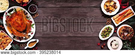 Classic Christmas Turkey Dinner. Top View Double Border On A Dark Wood Banner Background. Turkey, Po