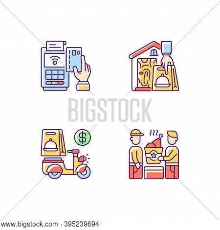 Meal Delivery Orders Rgb Color Icons Set. Cashless Payment. Contactless, Contact-free Option. Delive