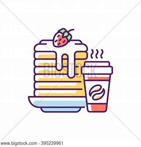 Breakfast Meals Rgb Color Icon. Prepared Food. Pancakes And Coffee. Well-balanced Morning Dishes. Br