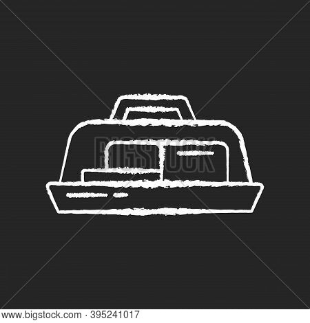Butter Dish Chalk White Icon On Black Background. Plate With Lid For Dairy Product. Milky And Fatty