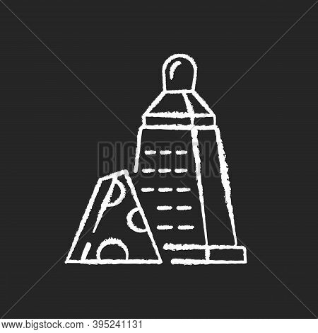 Grater Of Vegetables Chalk White Icon On Black Background. Cheese Stainless Cutter. Kitchen Utensil