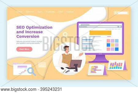 Landing Page Of Website. Seo Optimization And Increase Conversion. Optimization Process, Increase Gr