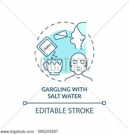 Gargling With Salt Water Concept Icon. Sore Throat Treatment Idea Thin Line Illustration. Natural Re