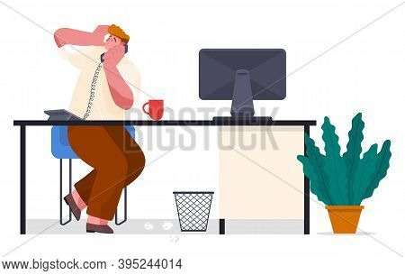 Chaos In Office. Office Worker With Phone Scared Looking. Unorganized Guy Try To Solve Work Difficul