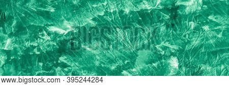 Mud Art. Retro Mud Background. Abstract Drawn Scribble. Green Or Neo Mint Color. Impregnated With Pa