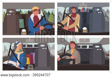 Set Of Four Pictures Of People Driving Car. Men And Woman, Drivers Ride Automobile Carefully. Interi