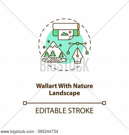 Wallart With Nature Landscape Concept Icon. Wallpaper With Plants. Comfortable Interior Design. Biop