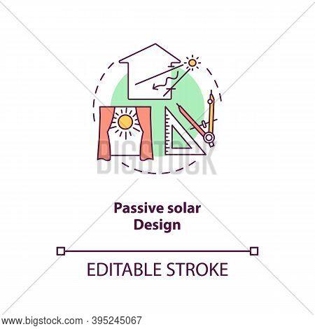 Passive Solar Design Concept Icon. Exposure To Direct Sunlight. Living Space At Home. Biophilia Idea