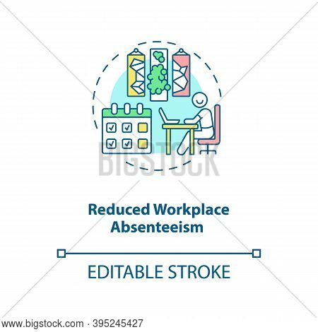 Reduced Workplace Absenteeism Concept Icon. Office Comfort And Convenience. Efficient Workspace. Bio