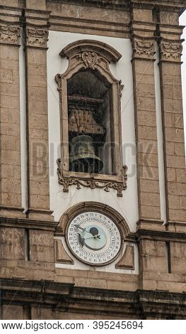 Rio De Janeiro, Brazil - December 26, 2008: El Centro District. Closeup Of Date Clock And Bell On To