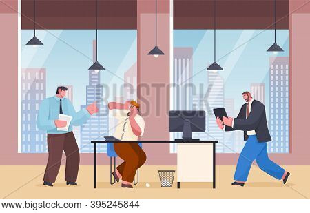 Unorganized Office Workers Making Panic. Angry Boss Swear At Employee Talking On Phone. Man Manager