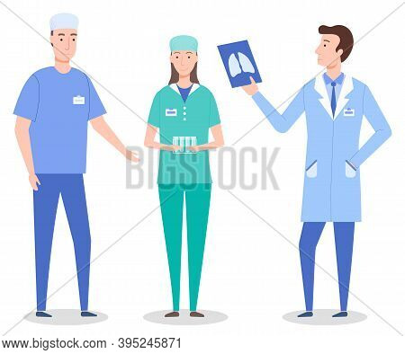 Set Cartoon Characters Of Medical Staff, Workers. Healthcare Medicine Concept. Surgeon Wearing Medic