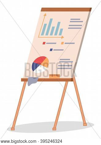 Vector Icon Of Wooden Flipchart With Diagram Or Pie Chart, Graphs, Data, Chart, Infographics. Busine