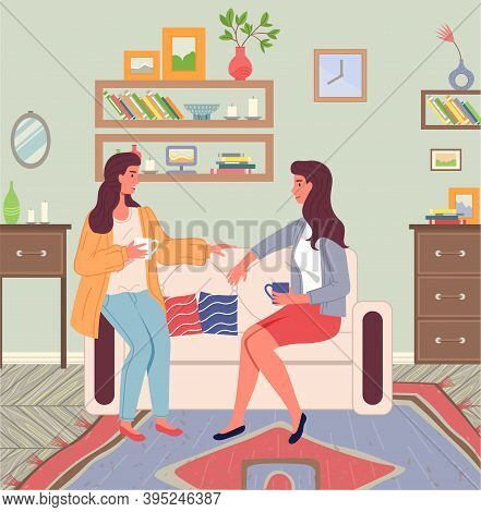 Girlfriends Talking At Home With Cup Of Tea Or Coffee Sitting At Sofa, Friends Relaxing Indoors, Hap