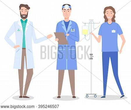 Set Cartoon Characters Of Medical Staff. Healthcare Medicine Concept. Bearded Doctor Wearing White G